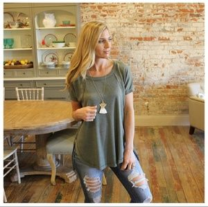 Soft Green Waffle Knit Boutique Top